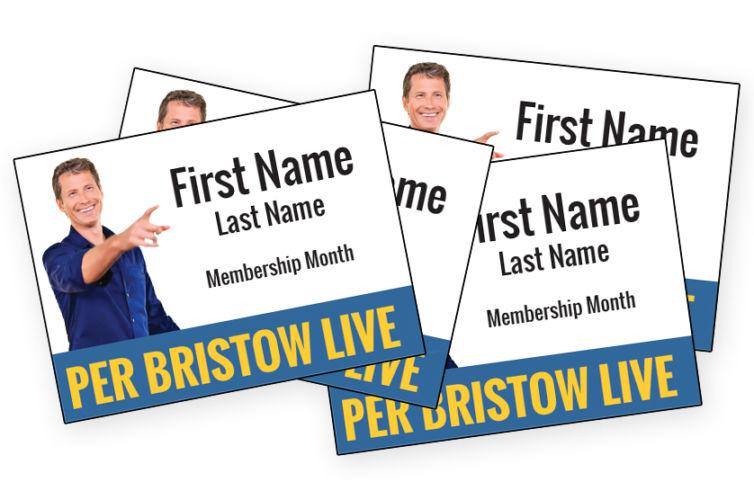 Per Bristow LIVE Event Badges