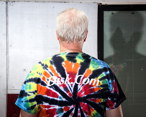 Joseph Foley in our Disk.com Tie Dye T-Shirt by Corporate Disk Company