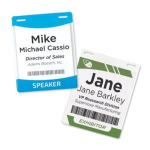 Custom Vinyl Name-tag Holder Example #1 by Corporate Disk Company