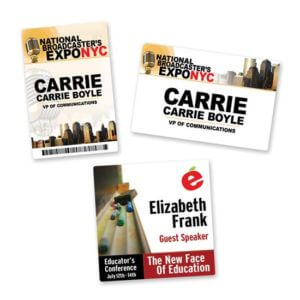 Vinyl Name Badges Example #1 by Corporate Disk Company